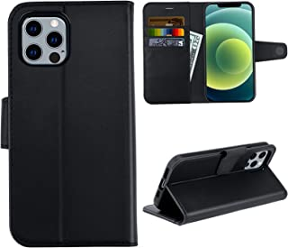 Compatible with iPhone 12/12 Pro Wallet Case 6.1 inch, Premium PU Leather Flip Case with Card Holder RFID Blocking Magnetic Closure Kickstand Drop Protection Cover for iPhone 12/12 Pro, Black