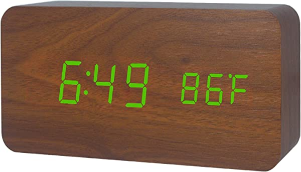 GO HAND LED Wood Alarm Clock Desktop Electronic Travel Home Modern Fashion Calendar Digital Displays Date Time Temperature With Voice Control Features Brown Wood Green Light