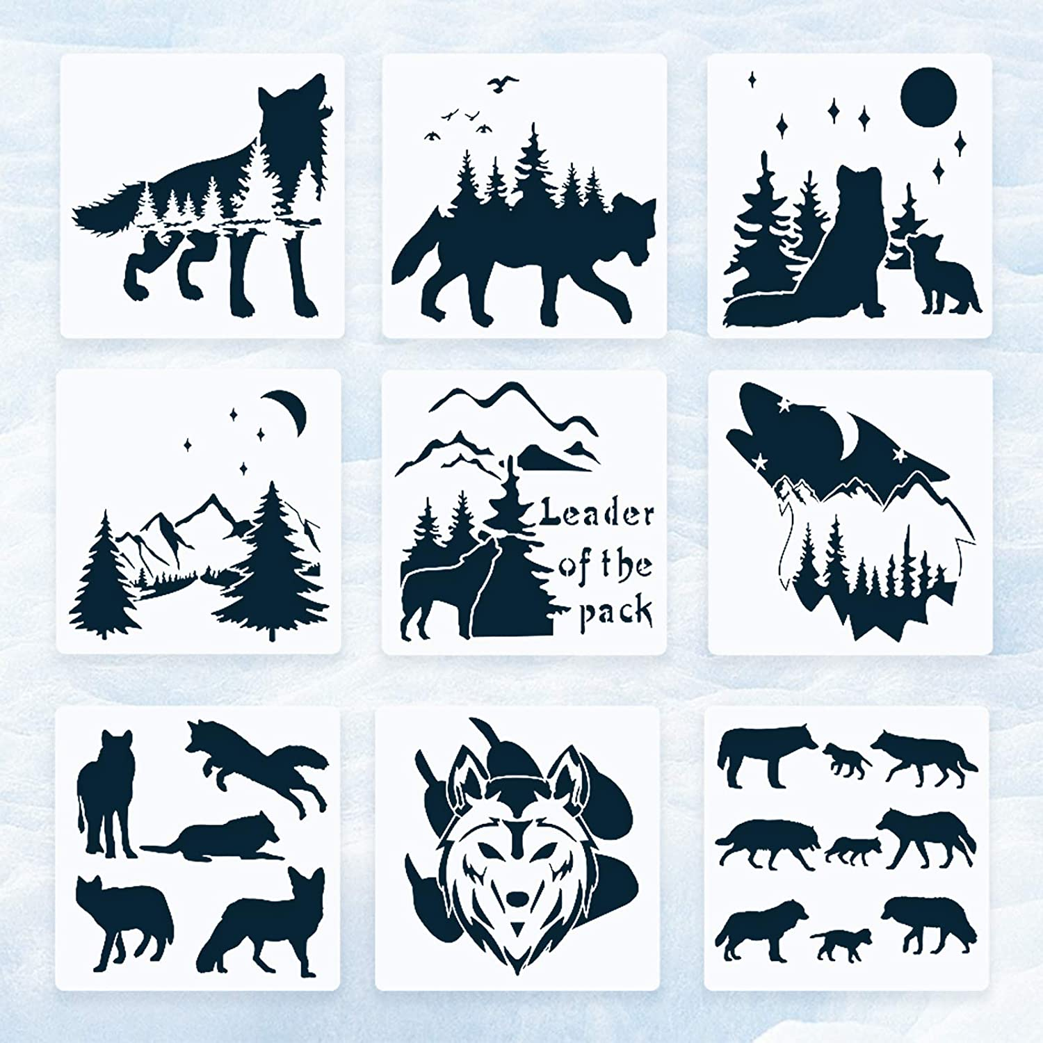 Wolf Stencils Max 46% OFF for Painting Memphis Mall on For Wood Animal