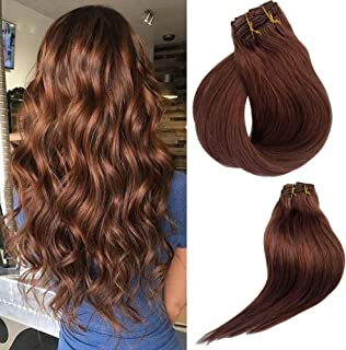 #30 Clip in Extensions 15inch Clip in Human Hair Extensions Yaki Straight Full Head Long Hair Fashion Summer Hairstyle for Women for Party 7pcs 120g(16