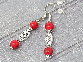 Orecchini etnici Zen con perle turchesi ricostituite rosse e perle tibetane