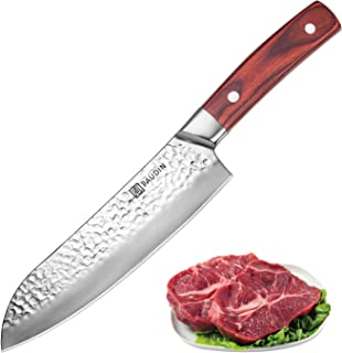 Santoku Knife 7 Inch, PAUDIN Japanese Chef Knife, Sharp Kitchen knife, German HC Steel 7Cr17Mov and Hammered Pattern, Knives for meat, vegetable