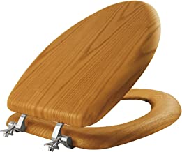 Mayfair 19601CP Toilet Seat with Chrome Hinges, Elongated, Natural Oak