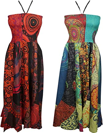 0e89831a63f49 Mogul Interior 2pc Womens Halter Dress Printed Bohemian Beach Sexy Summer  Dresses SM Green,red