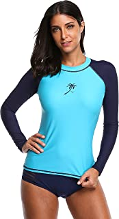 ATTRACO Rash Guard Women Long Sleeve Swim Top UV Sun Protection Swim Shirts