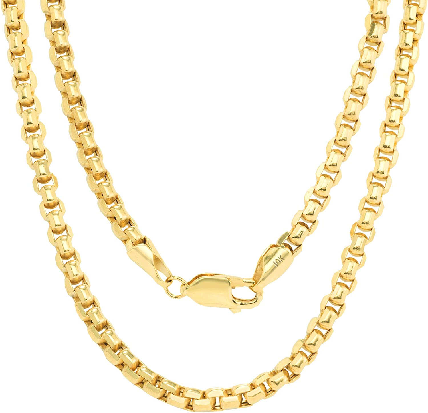 Nuragold 10k Yellow Gold 4mm Round Box Chain Venetian Link Pendant Necklace, Mens Womens Lobster Lock 16