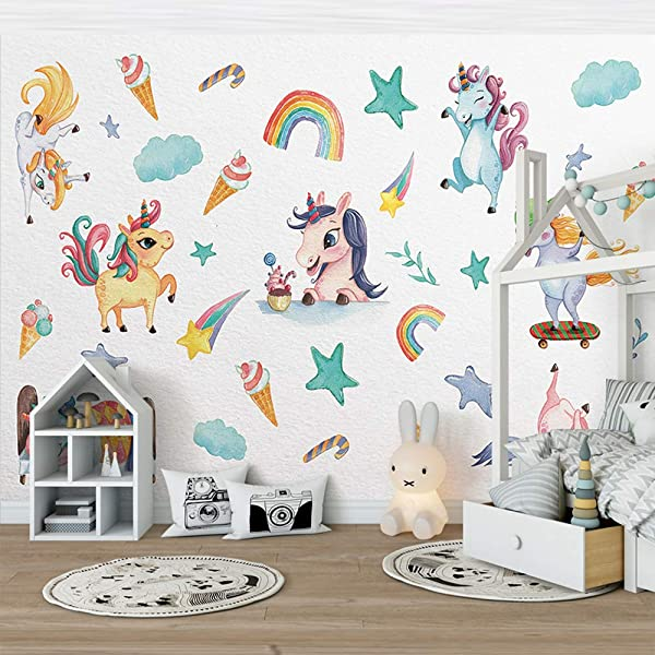 Aukeoss Unicorn Wall Sticker Rainbow Star Wall Decal Art For Girls Bedroom Baby Nursery Kids Room Wall Decor