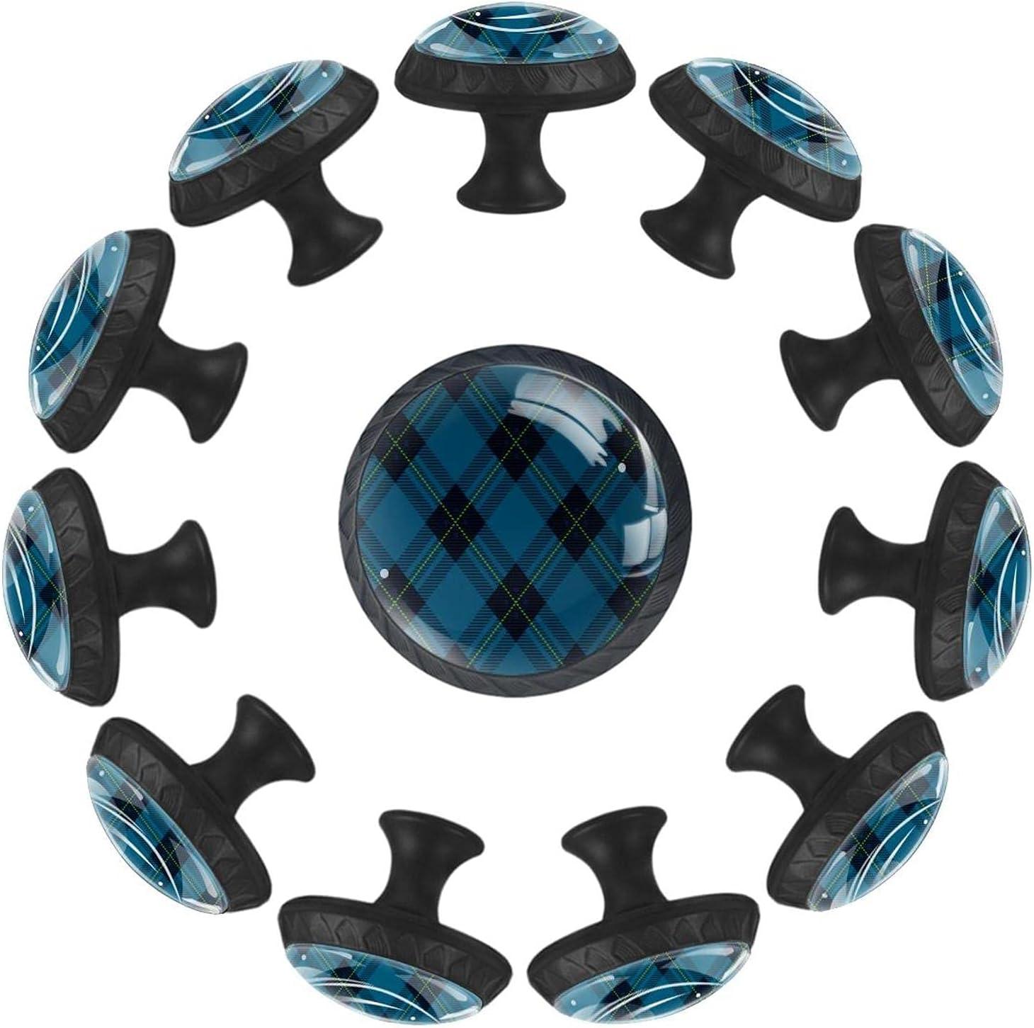 AURELIOR Tartan Plaid Cross Blue Cabinet Free Shipping New Pattern Ha Pull Long Beach Mall Handle