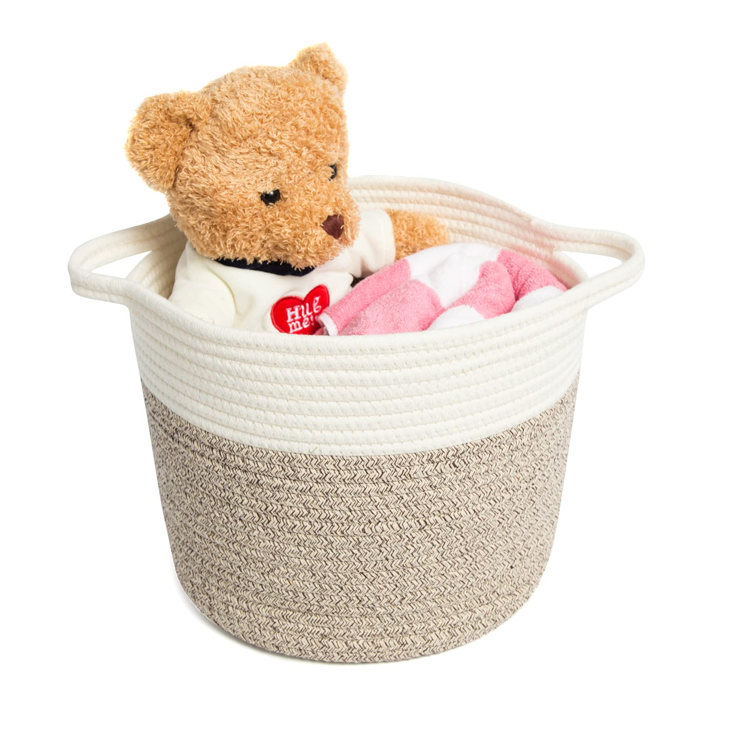Cotton Rope Storage Basket Baby Laundry Baskets Woven Decorative Organizer for Blanket Kids Toys Towels Multifunctional Storage Bins with Handle Brown Size M
