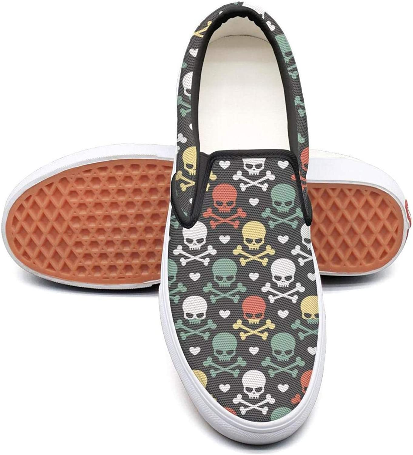 Skulls and Bones (2) Slip On Superior Comfort Loafers Canvas shoes for Women Round Toe