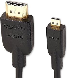 Amazon Basics Câble Micro HDMI Haute Vitesse sur HDMI, Dernière norme, 1,83 mètre, Paquet de 2
