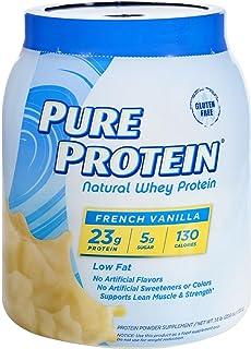Pure Protein Powder, Natural Whey, High Protein, Low Sugar, Gluten Free, French Vanilla, 1.6 lbs