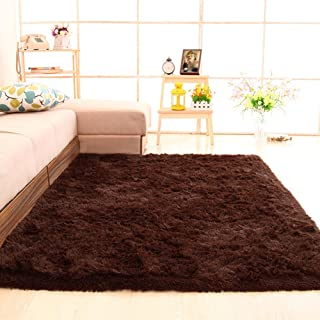 gdmgdr Ultra Soft and Fluffy Nursery Rugs 4cm High Pile Area Rugs for Bedroom and Living Room 4' x 5.3', Coffee