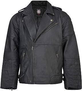 Kam Mens Leather Motor Bike Jacket (L003) in Black