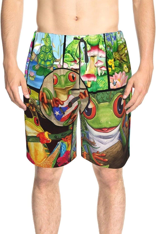 Mens Bathing Suits Puerto Rico Frog Beach Board Shorts Fast Dry Fashion Swimwear Beach Shorts with Pockets