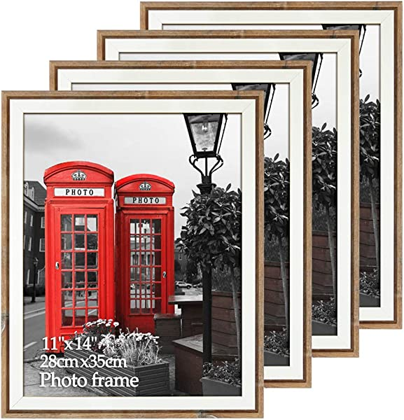 EdenseeLake 11x14 Picture Frames Rustic Barn Wood For Wall Mounting Weathered Brown Frame Set 4 Pack