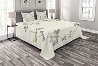 Ambesonne Dragonfly Bedspread, Dragonflies in Circular Formation Hand Drawn Woodland Animals with Retro Effect, Decorative Quilted 3 Piece Coverlet Set with 2 Pillow Shams, King Size, Ivory Lavender