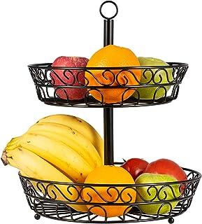 Porte Fruits, 2 Étages Corbeille à Fruits, Métal Casier à Fruits, Corbeille de Fruits, Gain de Place Décoratif Panier a Fr...
