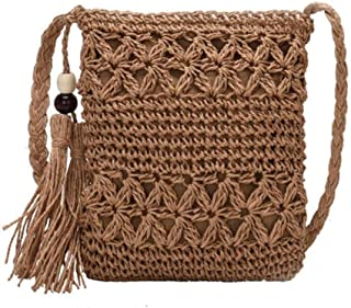 GSERA Einfarbige Quaste Umhängetasche Mädchen Handtasche Frauen Woven Beach Casual Messenger Bags