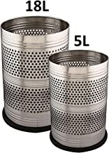Kuber Industries Stainless Steel 2 Pieces Big & Small Size Garbage Dustbin Set (Silver)-CTKTC3629,
