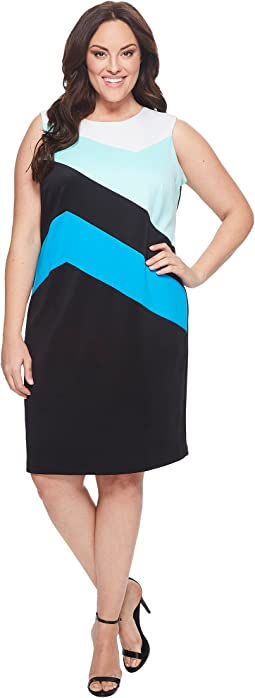 Plus Size Color Block Sheath Dress