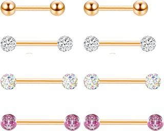 3 Pairs 14G 316L Stainless Steel Nipple Rings Piercing Body Jewelry Barbell CZ Tongue Rings