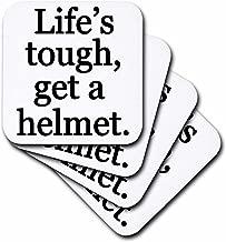 3dRose CST_186238_1 Lifes Tough Get a Helmet, Black, Soft Coasters, Set of 4