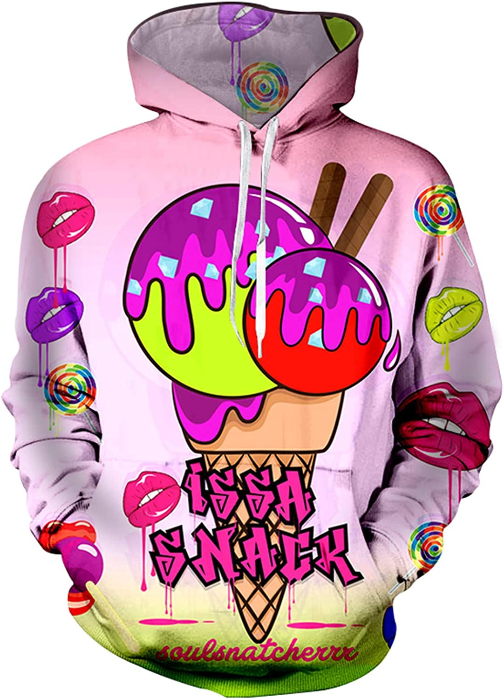 Mrxcff Autumn Casual Hoodie Sweatshirt Men  Women Funny Lure Lip Ice Cream Lollipops Print 3D Hoodies Hip Hop Hooded Hoody 6Xl Ice Hoodie 4Xl