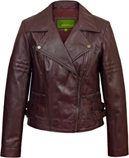 HIDEPARK Jaki: Women's Burgundy Leather Biker Jacket