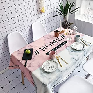 Simple Modern kitchen/home tools Marble and HOME Pattern Waterproof Anti-scalding Rectangle Cotton and Linen Table Cloth,S...