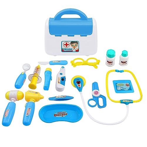 TR Turn Raise Cuadro Médico Conjunto Enfermera Médico Kit Parque Infantil para Niños - Fingir Juego Herramientas Juguete Set 15 Piezas (Azul)