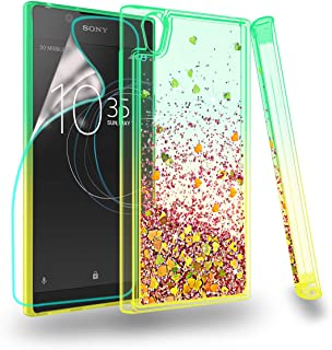 Zingcon Compatible for Sony Xperia L1 Phone Case,with HD Screen Protector,Glitter Liquid Waterfall Floating Quicksand Shockproof Case-Green/Orange