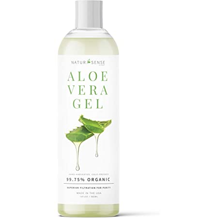 NaturSense by NTRSNS Organic Aloe Vera Gel - Great for Face, Hair, Sunburn Relief, Acne, Razor Bumps, Psoriasis, Eczema, Dry Skin Hydration - 12 oz.