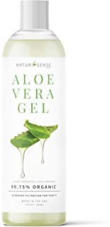 Best NaturSense Organic Aloe Vera Gel Great for Face, Hair, Sunburn Relief, Acne, Razor Bumps, Psoriasis, Eczema, Dry Skin Hydration - 12 oz. Review