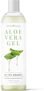NaturSense Organic Aloe Vera Gel Great for Face, Hair, Sunburn Relief, Acne, Razor Bumps, Psoriasis, Eczema, Dry Skin Hydration - 12 oz.