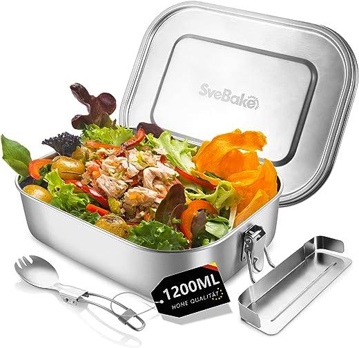 SveBake Lunchbox Edelstahl Auslaufsicher – 1200ml Brotdose aus Metall mit fächer – Lunchbox Geeignet für Schule, Kinder & Erwachsene, inkl. Besteck