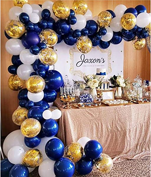 Soonlyn Navy Blue Balloons 100 Pcs 12 Inch Confetti Balloons White Latex Balloon Arch Garland Kit Baby Shower Birthday Party Wedding