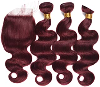 Hair Weave Body Wave Bundles Closure 99J Red Burgundy Non-remy Human Hair,10 12 14 +10Closure