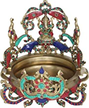 Gaja Ganesha Urli - Brass Statue with Inlay Work