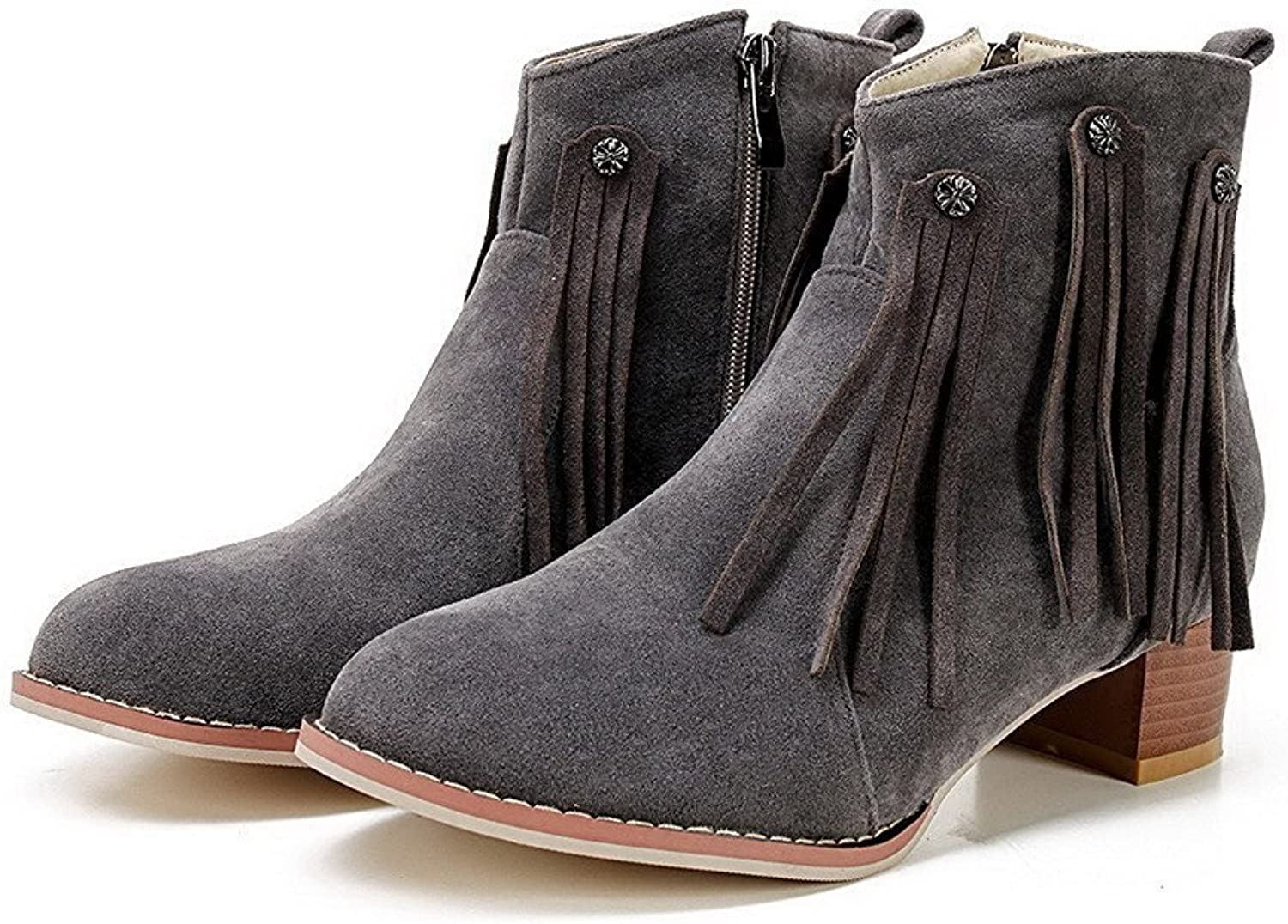 Garyline Women's Low-Heels Frosted Low-Top Solid Zipper Boots