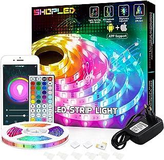 LED Strip Verlichting 5M, RGB Smart LED Lights Gecontroleerd door App & Afstandsbediening, Verkleurd LED Strips Werk met A...