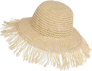 Qchomee Cappello in Paglia a Tesa Larga, per la Primavera, l'Estate, Anti UV, da Spiaggia, da Viaggio, per Vacanze, per Vi...
