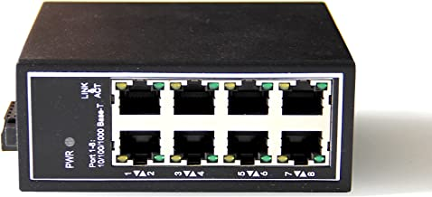 WIWAV WDH-8GT-DC 10/100/1000Mbps Unmanaged 8-Port Gigabit Industrial Ethernet Switches with DIN Rail/Wall-Mount(Fanless,-30℃~75℃)