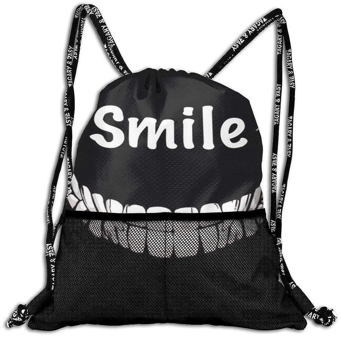 Girls & Boys Drawstring Backpack Theft Proof Lightweight Beam Bag, School Gymsack - Smile Face Teeth Black White Waterproof Backpack Soccer Basketball Bag qilxqhzk33203