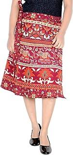 Rajvila Women's Cotton Printed Knee Length Regular Wrap Around Skirt (W24NT_0006)