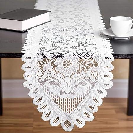 33 x 305 cm Chemin de Table en Dentelle au Crochet Fait à la Main, Napperons Rectangulaires et Rectangulaires Beiges pour Décoration de Mariage