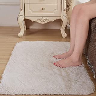 Amangel Super Soft Cozy White 2' x 3' Area Rug, High Pile Faux Fur Bedside Rugs Non Slip Shaggy Fluffy Plush Fur Rugs for Bedroom Floor Fuzzy Furry Throw Rugs Small Carpets Rectangle