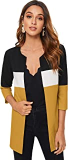 MAKEMECHIC Women's Open Front 3/4 Sleeve Casual Color Block Cardigan Outerwear