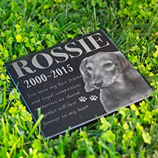 Lara Laser Works Personalized Memorial Stone Headstone with Photo Engraved Granite Dog Photo Grave Stone