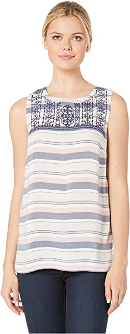 Woven Stripe Sleeveless Embroidered Blouse